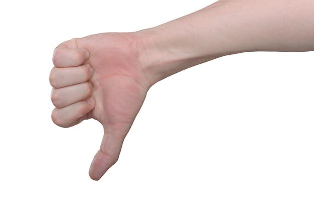 Mano di un maschio adulto. gesto della mano - dito verso il basso, non accettazione, cattivo, rifiuto