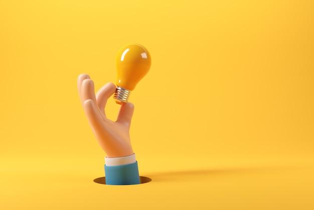 Mano dell'uomo d'affari che tiene la lampadina su sfondo giallo