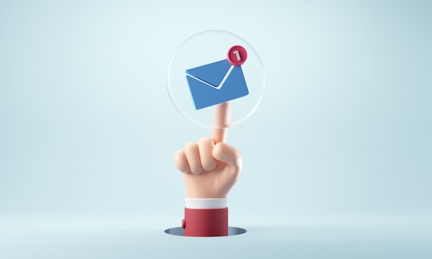 Mano dell'uomo d'affari che preme una nuova icona di notifica e-mail con un messaggio e-mail