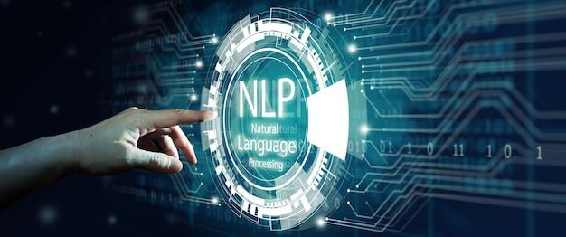 Mano dell'uomo d'affari che tocca la tecnologia di calcolo cognitivo di elaborazione del linguaggio naturale della pnl