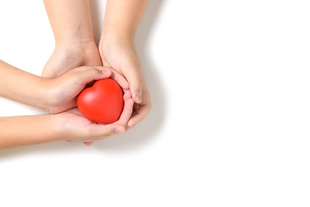 Mano bambino che tiene cuore rosso isolato su sfondo bianco, donazione di organi, felice beneficenza volontaria, assicurazione familiare e concetto di responsabilità sociale d'impresa, giornata mondiale del cuore