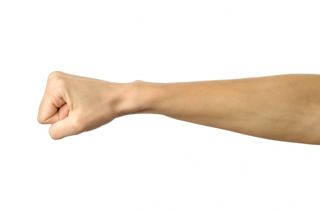 Stretto a mano in un pugno. gesturing della mano della donna isolato su bianco