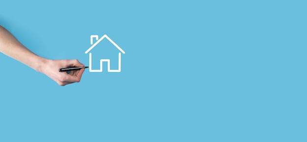 Mano, disegnare, uno, casa, icona, con, uno, marker., immobiliare, concept., proprietà, assicurazione, e, sicurezza, concept., innovazione, tecnologia, internet, rete, concept.