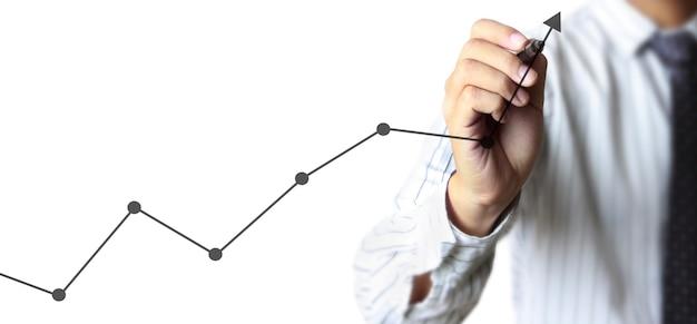 Mano che disegna un grafico, stock grafico di crescita