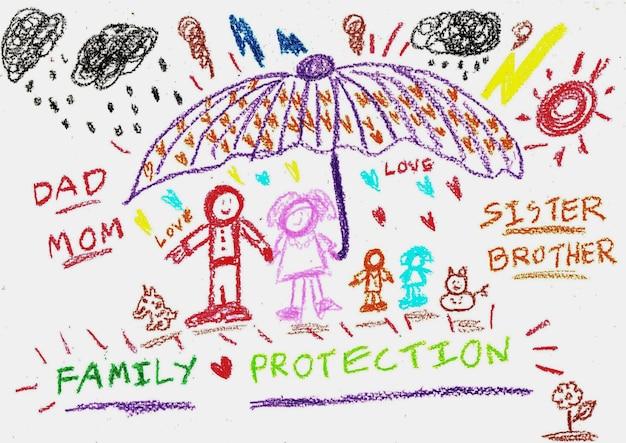 Disegno a mano della famiglia con pastelli colorati. in piedi sotto un grande ombrello. proteggere dai rischi esterni.