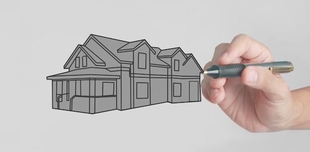 Disegnare a mano il concetto di casa dei sogni disegnato dal designer