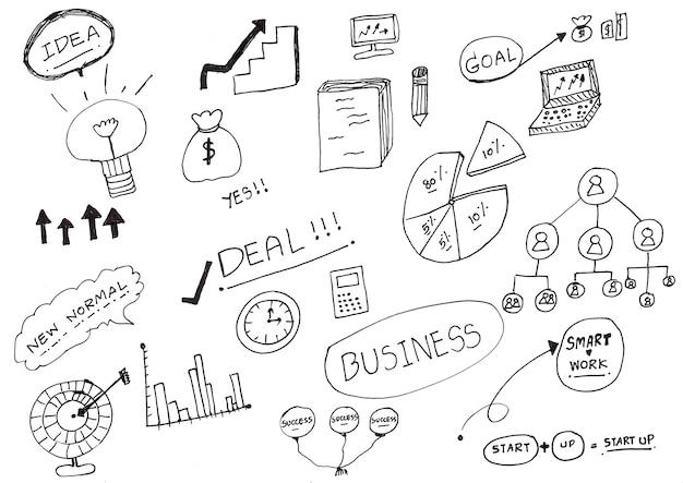 Disegno a mano con inchiostro nero su carta, disegno di doodle. personaggio dei cartoni animati di affari.