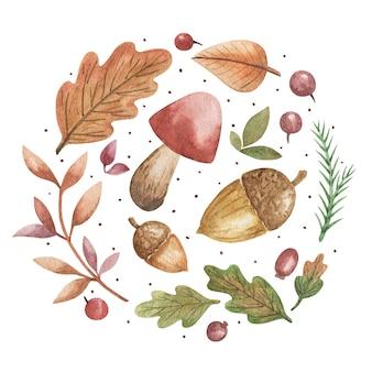 Foglie disegnate a mano, funghi, ghiande, foglie di quercia, set di bacche