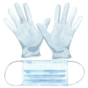 Mascherina e guanti medici disegnati a mano