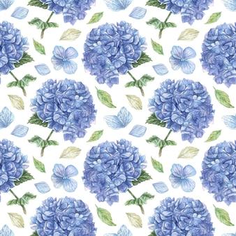 Reticolo senza giunte disegnato a mano con nuvole di ortensie blu e petali bianchi