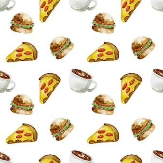 Schizzo disegnato a mano illustrazione ad acquerello fast food di cibo tradizionale americano fetta di pizza hamburger e caffè caldo