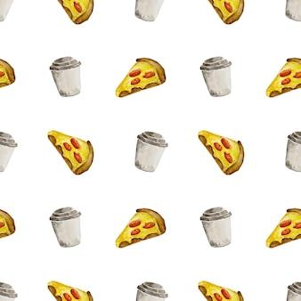 Schizzo disegnato a mano illustrazione ad acquerello fast food di cibo tradizionale americano fetta di pizza e caffè caldo