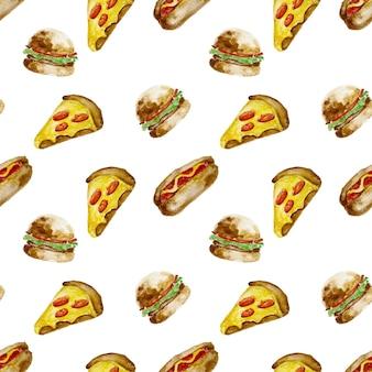 Illustrazione dell'acquerello di schizzo disegnato a mano della fetta di hotdog di pizza hamburger e hamburger