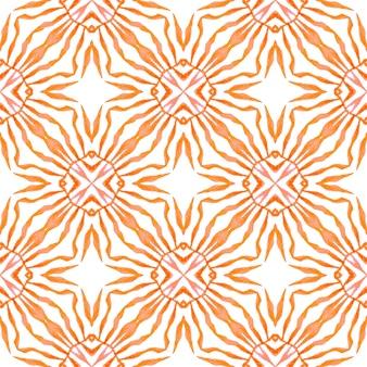 Bordo senza giunte tropicale disegnato a mano. design estivo boho chic arancione vivo. stampa adorabile pronta per tessuti, tessuto per costumi da bagno, carta da parati, involucro. modello senza cuciture tropicale.
