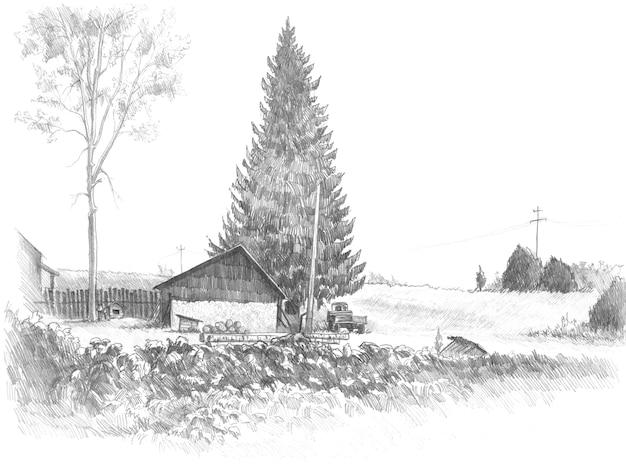 Paesaggio del villaggio disegnato a mano capanna tronchi di abete isolato su sfondo bianco arte grafica vista panoramica
