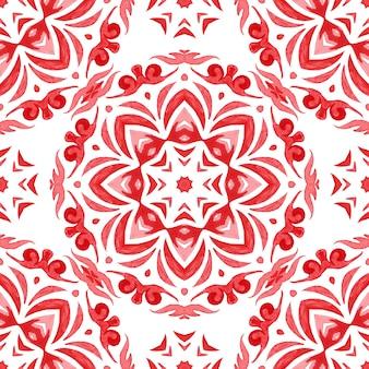 Reticolo decorativo dell'acquerello disegnato a mano. damasco ornamentale rosso.