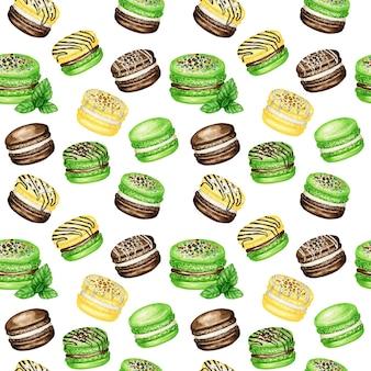 Reticolo senza giunte di torte macaron francese dell'acquerello disegnato a mano. cioccolato, vaniglia, banana, menta dessert della pasticceria su struttura del tessuto dolce dei biscotti variopinti dell'amaretto del fondo bianco, carta dell'album per ritagli.