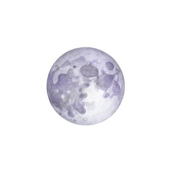 Luna piena dell'acquerello disegnato a mano su bianco