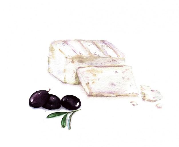 Illustrazione disegnata a mano dell'acquerello di feta affettata con olive nere