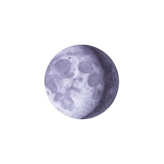 Luna nuova dell'acquerello disegnato a mano su bianco
