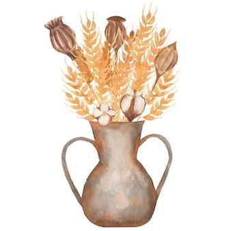 Orecchie disegnate a mano dell'acquerello giallo grano e illustrazione del mazzo del cotone. fiori in un vaso, stile retrò.