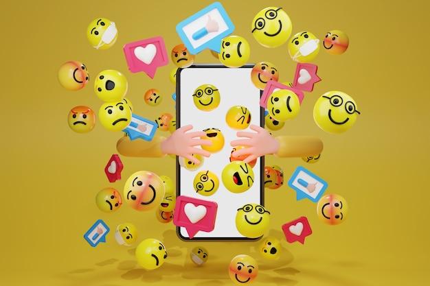 Mano che abbraccia smartphone con icone di emoticon dei cartoni animati per i social media. rendering 3d