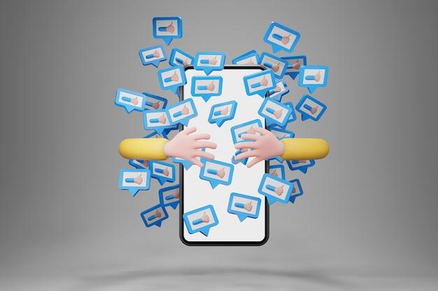 Mano che abbraccia smartphone con notifiche di icone simili che volano intorno. mano del personaggio dei cartoni animati, concetto di social media, rendering 3d