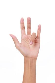 Mano del dito grilletto femminile su sfondo bianco