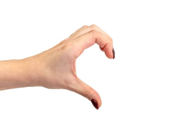 Mano che forma una forma di mezzo cuore. mani che formano un cuore sulla superficie bianca. concetto di san valentino.