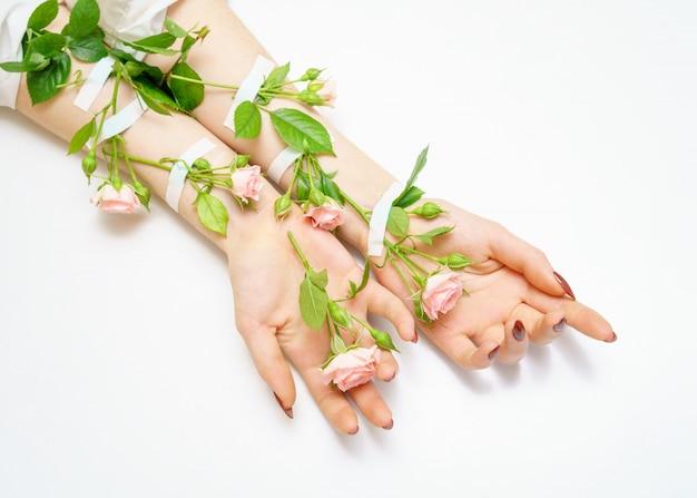Mano nella mano boccioli di rose rosa sulle mani,