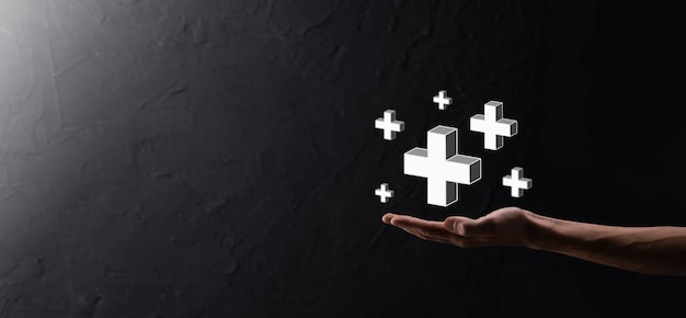 Tenere in mano l'icona 3d plus, l'uomo tenere in mano offre cose positive come profitto, benefici, sviluppo, csr rappresentato dal segno più. la mano mostra il segno più