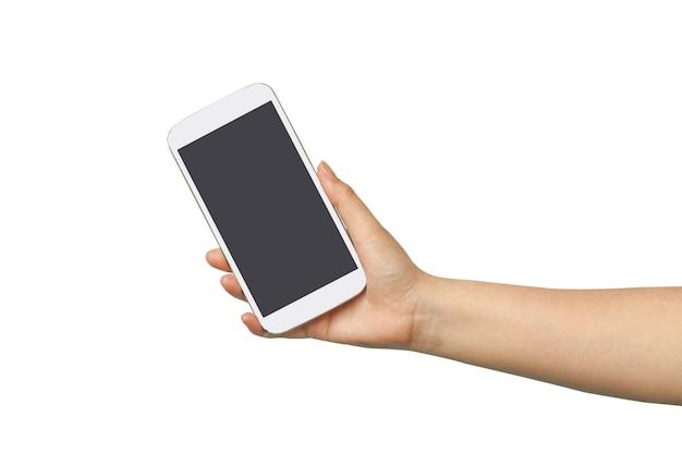 Tenere la mano e toccare un telefono cellulare
