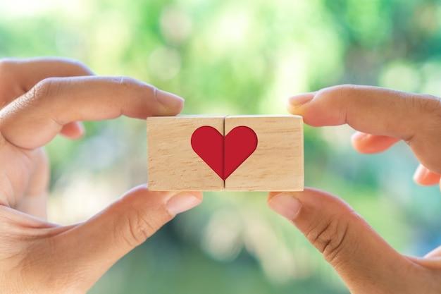 Tenere in mano il cubo di legno con l'icona del segno di cuore e copiare la luce solare della natura dello spazio è possibile mettere il testo sullo sfondo. san valentino amore stagione concetto.