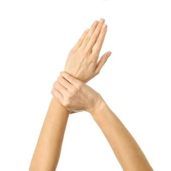 Mano che tiene la mano. gesturing della mano della donna isolato su bianco