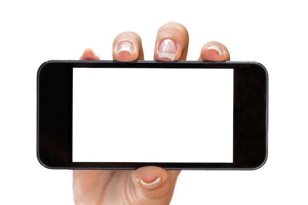 Mano che tiene un iphone con schermo vuoto