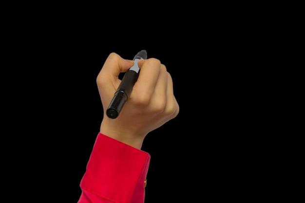 Pennarello per tenere la mano isolato su lavagne nere