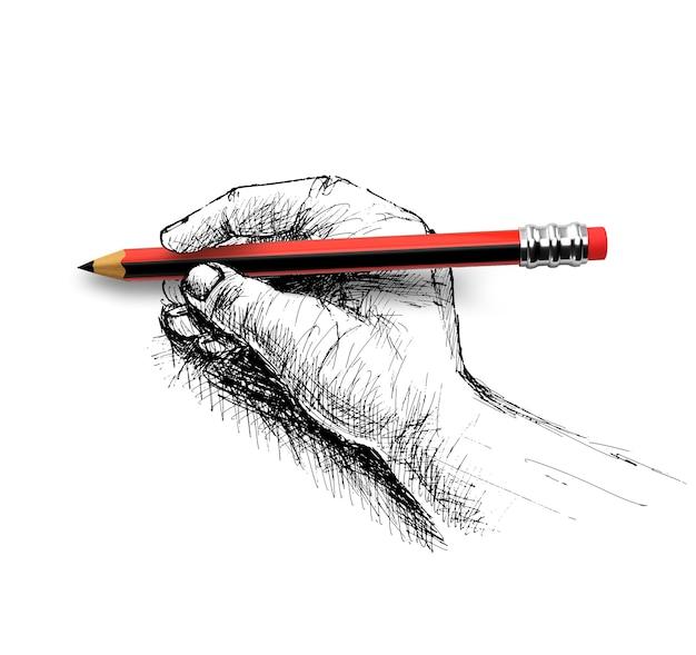 Mano che tiene schizzo a matita isolato su sfondo bianco