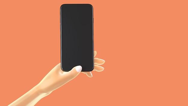 Mano che tiene il telefono, isolato su sfondo. 3d-illustrazione. mockup concept set di social media, app, messaggi e commenti.