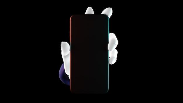 Mano che tiene il telefono, isolato su sfondo nero. 3d-illustrazione. mockup concept set di social media, app, messaggi e commenti.