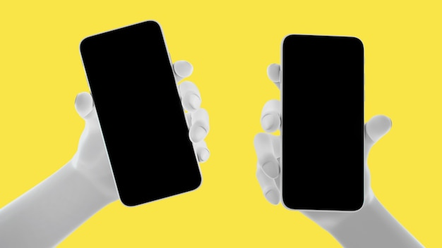 Mano che tiene il telefono, isolato su sfondo giallo. 3d-illustrazione. mockup concept set di social media, app, messaggi e commenti.