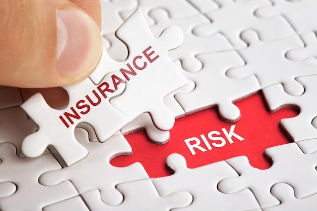 Mano che tiene il pezzo di puzzle con la parola rischio di assicurazione