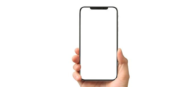 Mano che tiene il dispositivo smartphone e lo schermo commovente