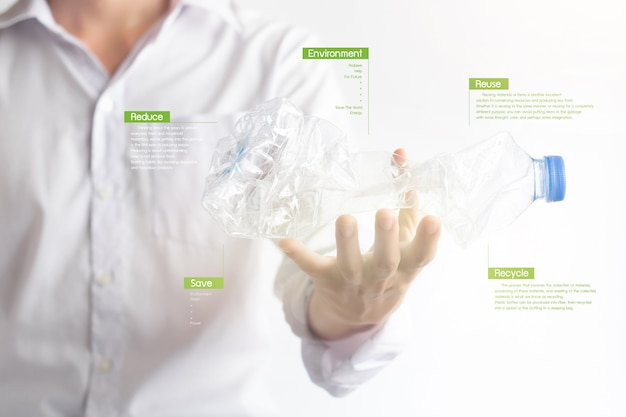 Passi la tenuta della bottiglia di plastica attorcigliata con effetto virtuale digitale sull'ambiente.