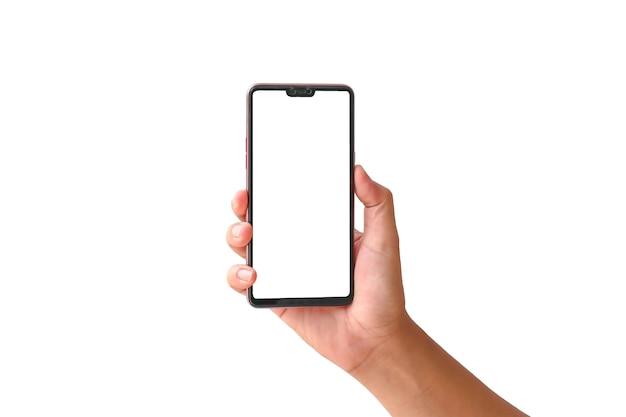Mano che tiene il telefono con schermo bianco isolato