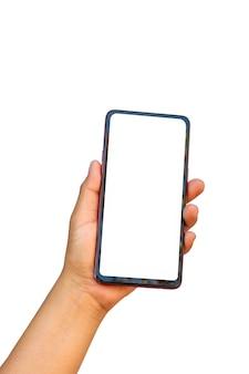 La mano tiene lo schermo bianco