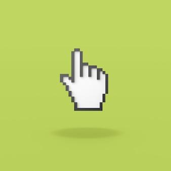 Puntatore del mouse a mano pixelated su sfondo verde