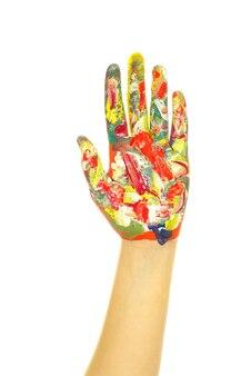 Dipinto a mano con vernici colorate su bianco