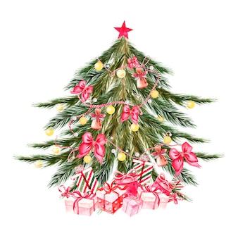 Albero di natale ad acquerello dipinto a mano con palline di colori gialli, campane, fiocchi, scatole regalo, stelle. decorazione di capodanno. illustrazione