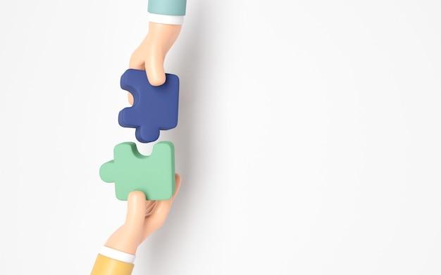 Mano di persone che collegano il puzzle con lo spazio della copia