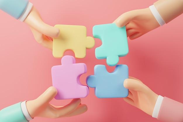 Mano di persone che collegano puzzle